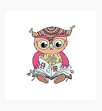 Cute colorful owl is sitting and reading the book Photographic Print