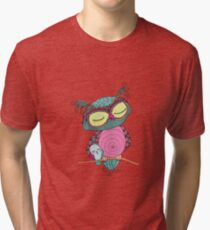 Cute colorful owl and little bird sitting on tree branch Tri-blend T-Shirt