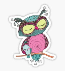 Cute colorful owl and little bird sitting on tree branch Sticker