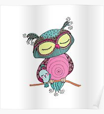 Cute colorful owl and little bird sitting on tree branch Poster