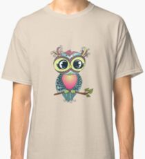 Cute colorful cartoon owl sitting on tree branch Classic T-Shirt