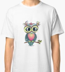 Cute colorful cartoon owl sitting on tree branch Classic T-Shirt