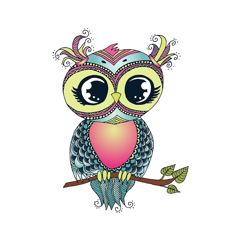 Cute colorful cartoon owl sitting on tree branch by MayyaIva