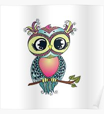 Cute colorful cartoon owl sitting on tree branch Poster