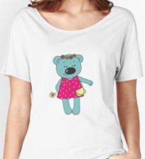 Cute bear with closed eyes in pink dress Women's Relaxed Fit T-Shirt