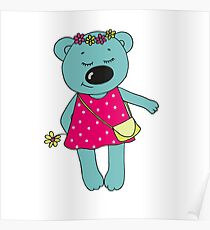 Cute bear with closed eyes in pink dress Poster