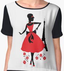 Retro woman silhouette Women's Chiffon Top