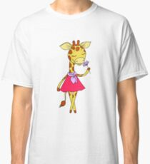 Cute giraffe with closed eyes in pink dress Classic T-Shirt