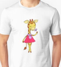 Cute giraffe with closed eyes in pink dress T-Shirt