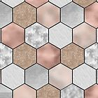 Marble hexagons and rose gold on black by marbleco