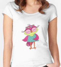 Cute colorful cartoon owl in blue dress Women's Fitted Scoop T-Shirt