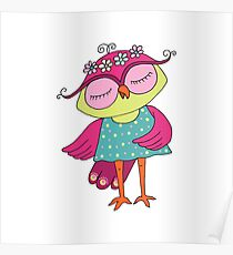 Cute colorful cartoon owl in blue dress Poster