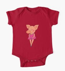 Cute colorful cartoon piglet in pink dress Kids Clothes