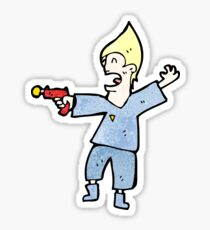 cartoon future man with ray gun Sticker