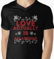 Camiseta para hombre de cuello en v El amor realmente es