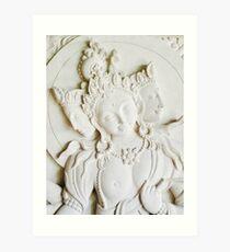 Hindu Gods Stone Carving Art Print