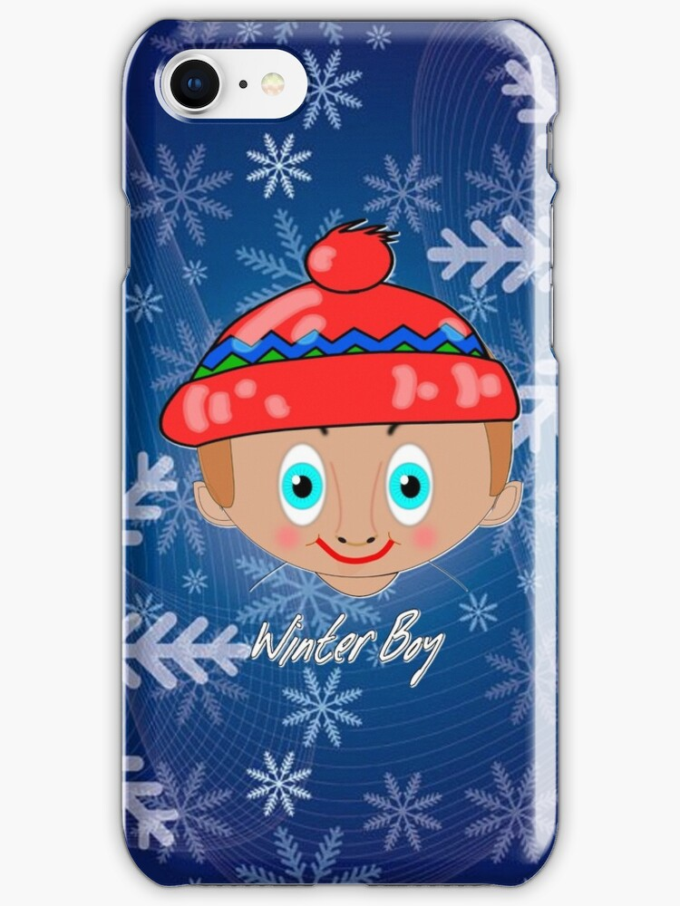 Toon Boy 7a Winter in Snow iPhone case design by Dennis Melling