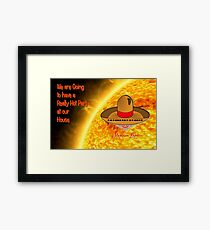 Toon Boy 8a Hot Party at our House - greetings card Framed Print
