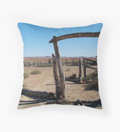 Dalhousie Stock Yard Ruins,Outback Australia Throw Pillow