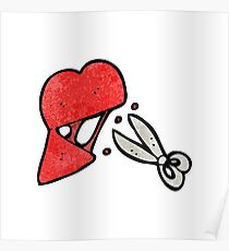 cartoon scissors cutting heart symbol Poster