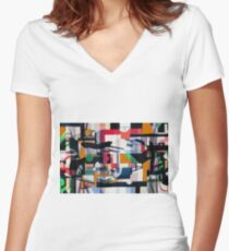 Seamless abstract patterns, oil painting Women's Fitted V-Neck T-Shirt