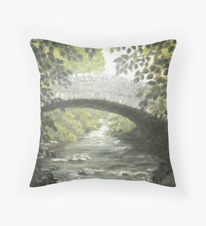 The Bridge in Summer - oil on canvas Throw Pillow