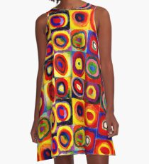 Kandinsky Modern Squares Circles Colorful A-Line Dress