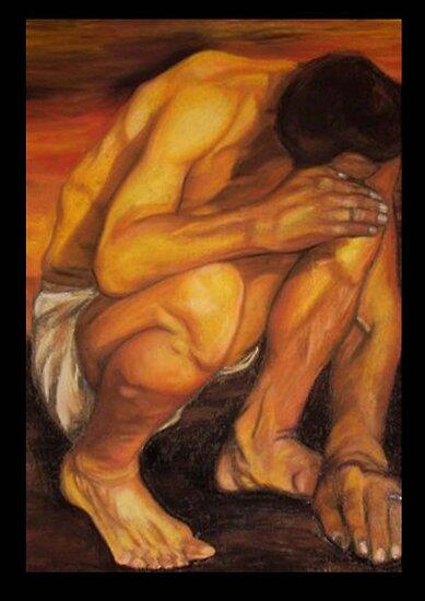 Crouched man by Paula Stirland
