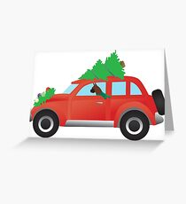 Boxer Dog Driving Christmas Car with Tree on Top Greeting Card