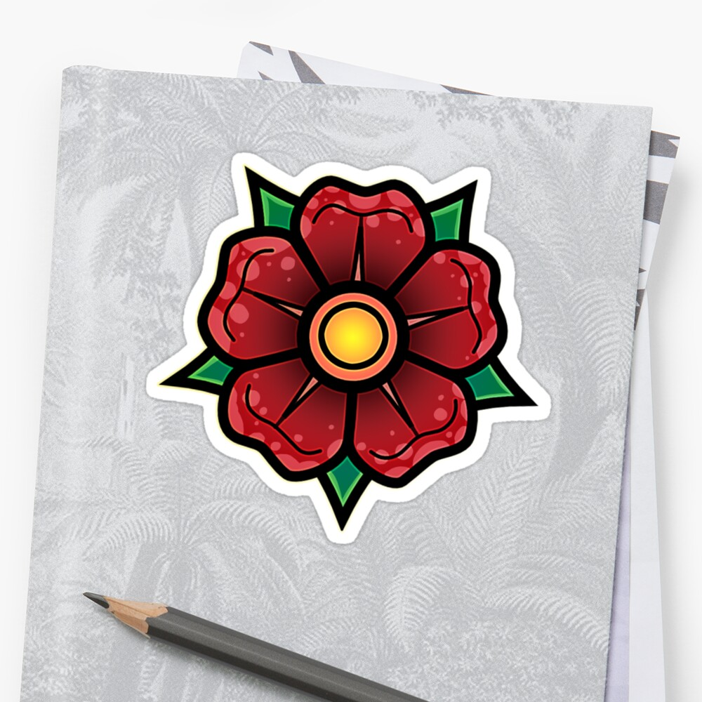 Red Traditional Flower Sticker