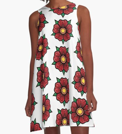 Red Traditional Flower A-Line Dress