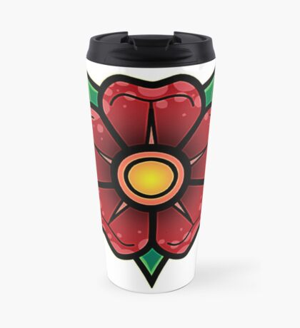 Red Traditional Flower Travel Mug