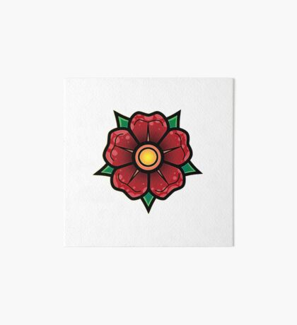 Red Traditional Flower Art Board Print
