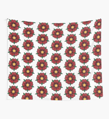 Red Traditional Flower Wall Tapestry