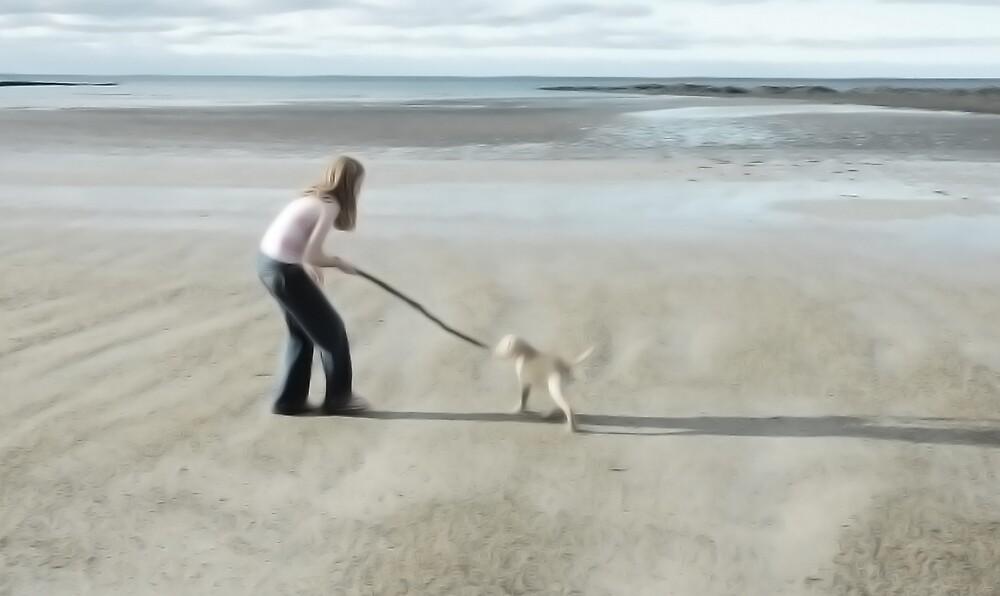 Girl with Dog by Sue Wickham