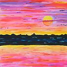 Watercolor Sunset In Reds and Violets by Express Yourself Artshop