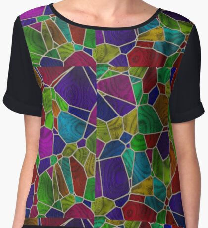 Stained Glass Design by Julie Everhart Women's Chiffon Top