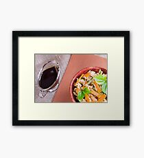 Top view of a dish of rice, carrots and beans Framed Print