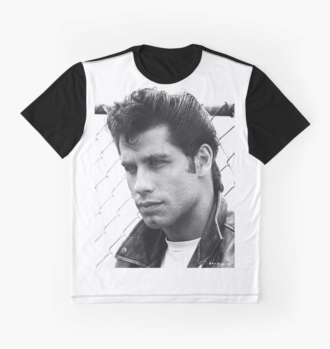 Danny zuko black t shirt - John Travolta Grease Graphic T Shirts