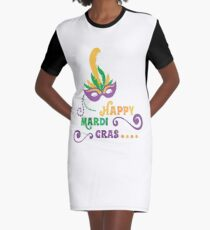 Happy Mardi Gras T-shirt and Apparel Graphic T-Shirt Dress