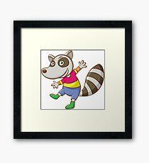 Funny cute raccoon Framed Print