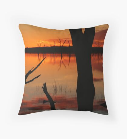 Red Reflections, Lake Fyans Grampians Throw Pillow