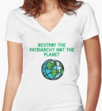 Destroy Patriarchy Women's Fitted V-Neck T-Shirt