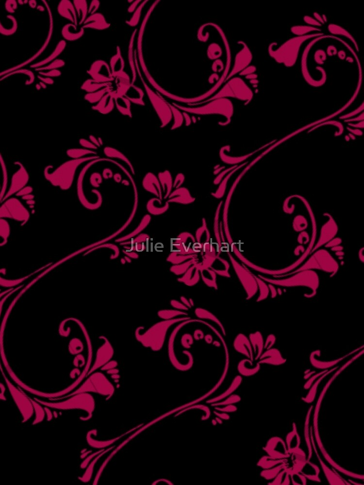 Black with Hot Pink Flower by Julie Everhart by julev69