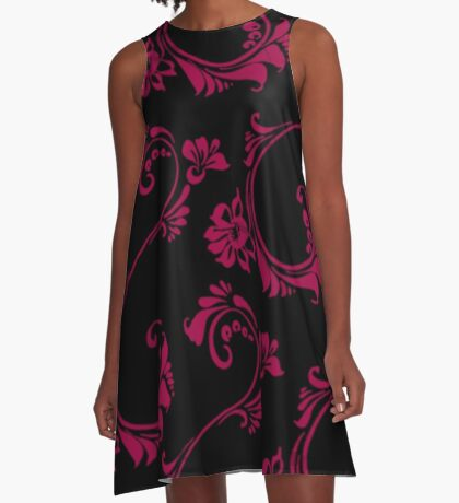Black with Hot Pink Flower by Julie Everhart A-Line Dress