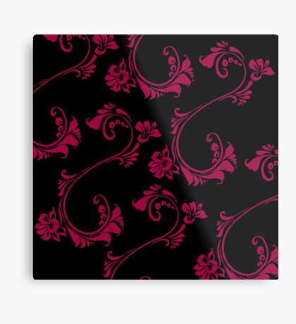 Black with Hot Pink Flower by Julie Everhart Metal Print