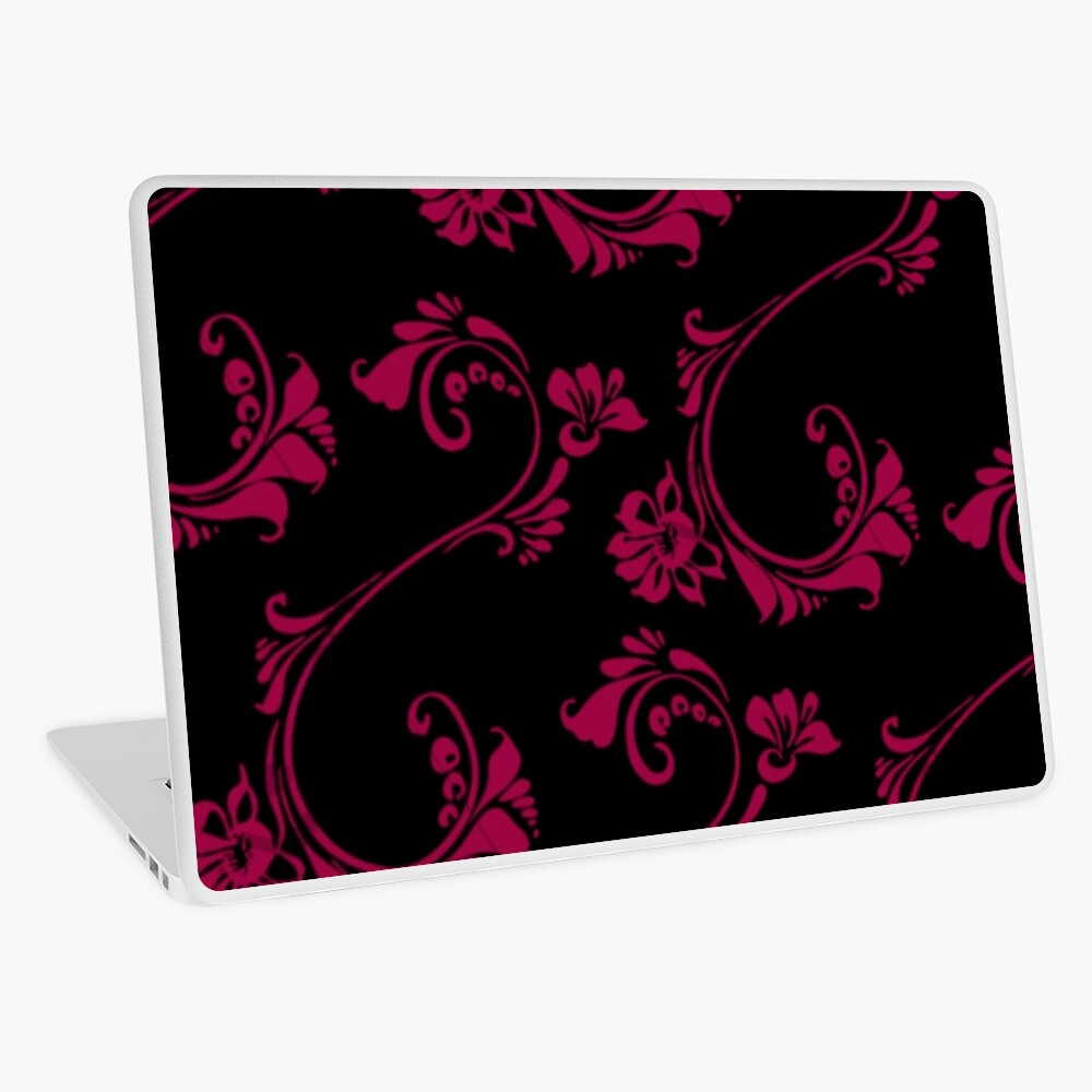 Black with Hot Pink Flower by Julie Everhart Laptop Skin