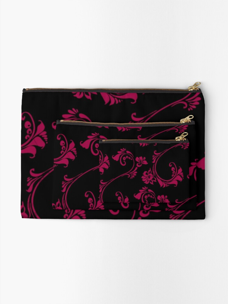 Alternate view of Black with Hot Pink Flower by Julie Everhart Zipper Pouch