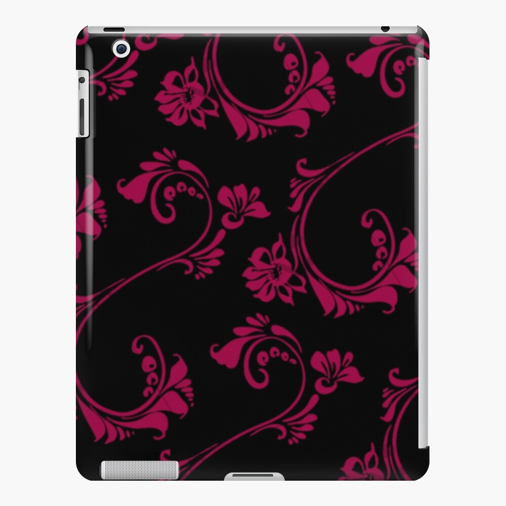 Black with Hot Pink Flower by Julie Everhart iPad Case & Skin