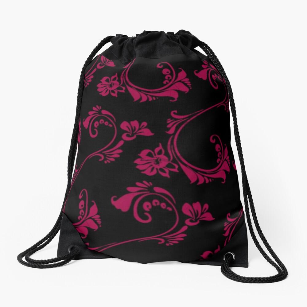 Black with Hot Pink Flower by Julie Everhart Drawstring Bag